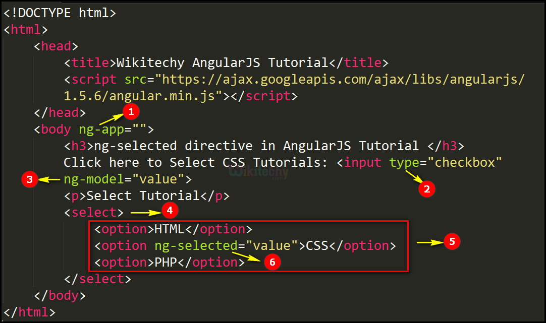Code Explanation for AngularJS ngselected