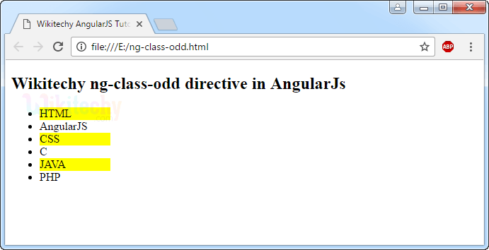 Sample Output for AngularJS ngclasseven