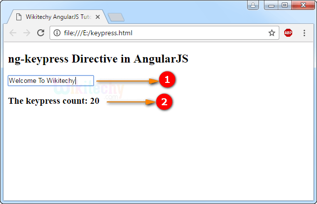 Sample Output for AngularJS ngKeypress Directive