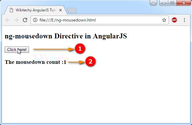 Sample Output for AngularJS ngmousedown