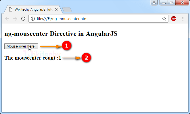 Sample Output for AngularJS ngmouseenter