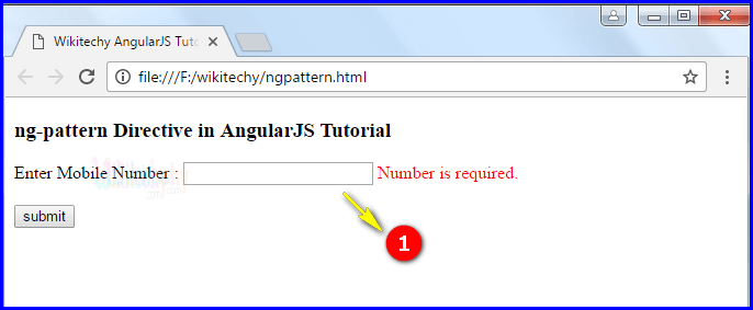 Sample Output for AngularJS ngpattern
