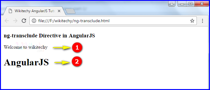 Sample Output for AngularJS ngtransclude