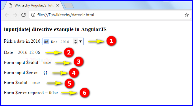 Sample Output1 for AngularJS Input Date