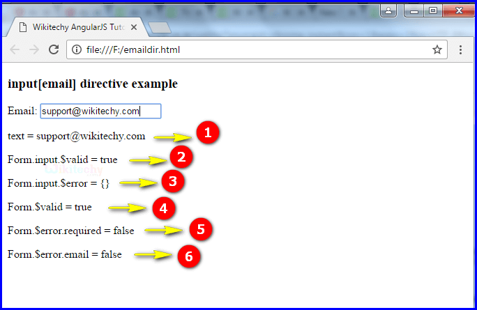 Sample Output1 for AngularJS Input Email