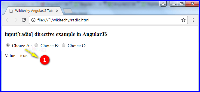 Sample Output1 for AngularJS Input Radio
