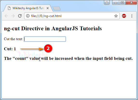 Sample Output for AngularJS ngCut Directive