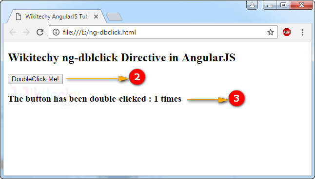 Sample Output for AngularJS ngDblclick Directive