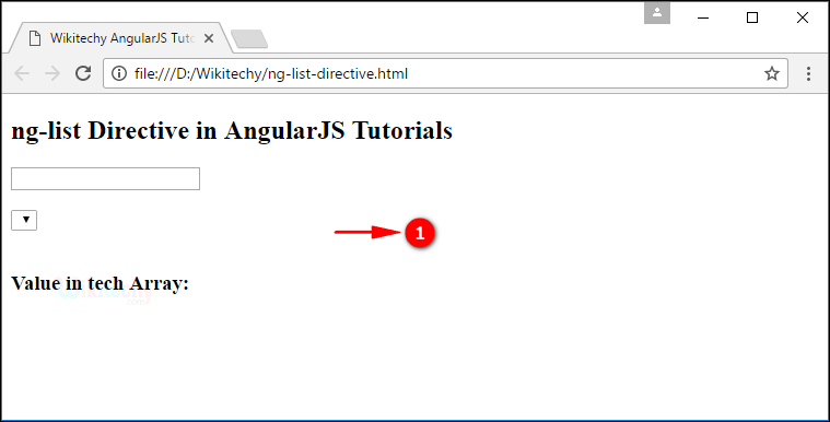 Sample Output1 for AngularJS nglist