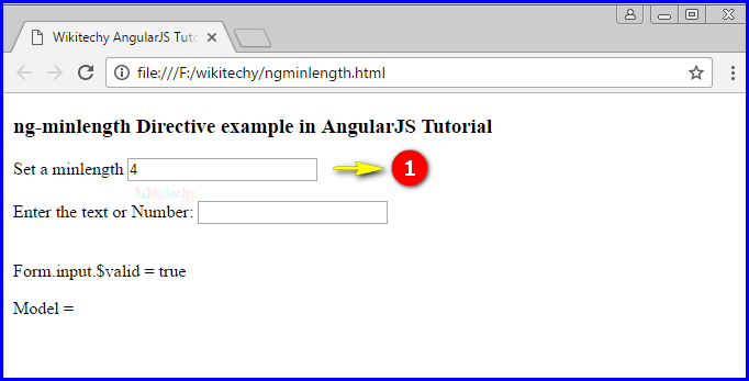 Sample Output1 for AngularJS ngminlength