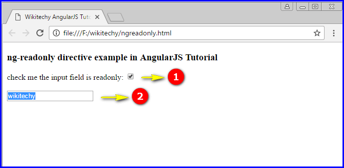 Sample Output for AngularJS ngReadonly Directive