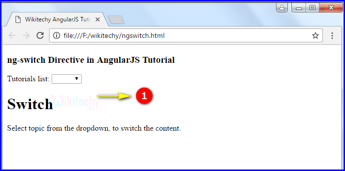 Sample Output1 for AngularJS ngswitch