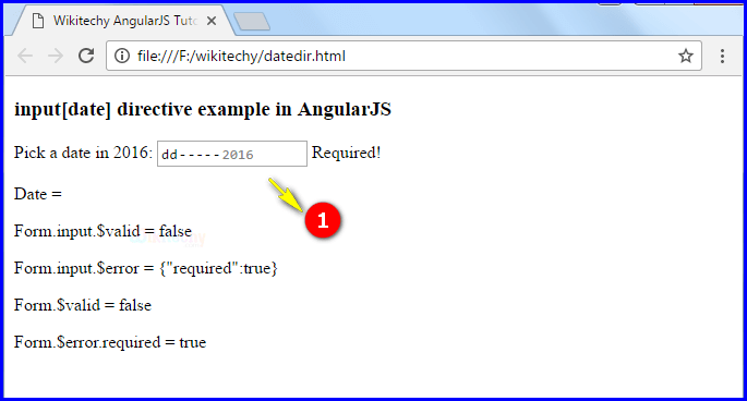 Sample Output2 for AngularJS Input Date