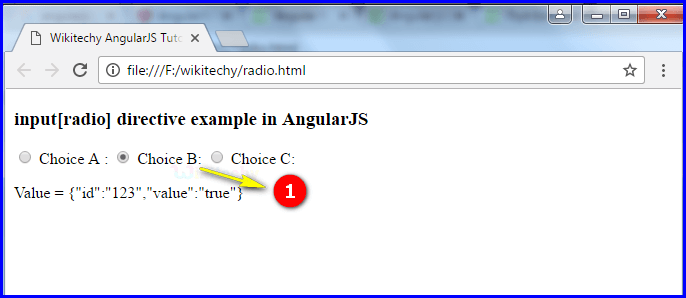 Sample Output2 for AngularJS Input Radio