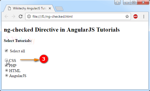 Sample Output2 for AngularJS ngchecked