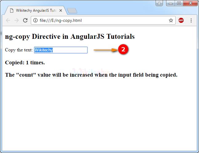 Sample Output2 for AngularJS ngcopy