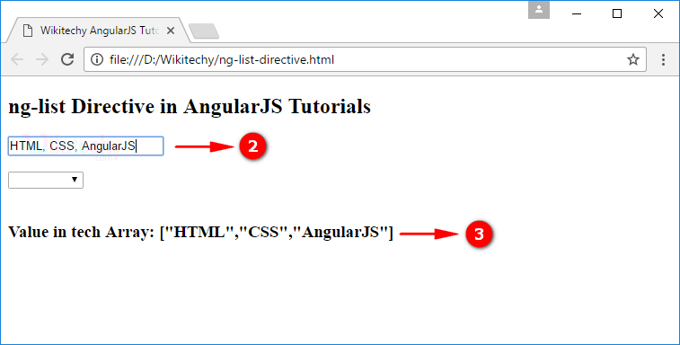 Sample Output2 for AngularJS nglist