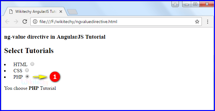Sample Output2 for AngularJS ngvalue