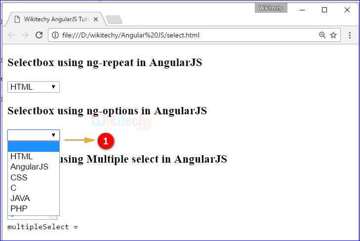 Sample Output for AngularJS select Directive