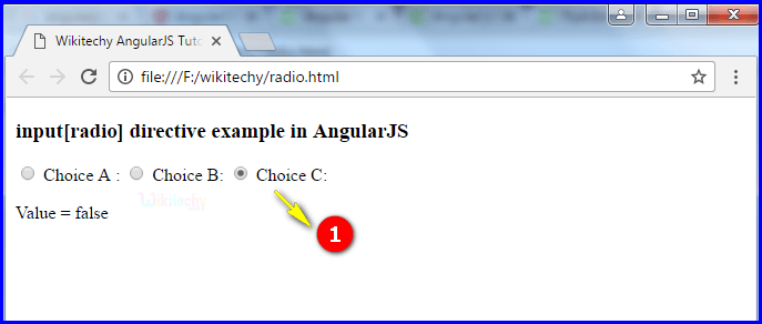 Sample Output3 for AngularJS Input Radio