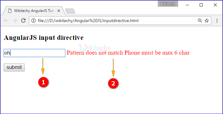 Sample Output for AngularJS input Directive
