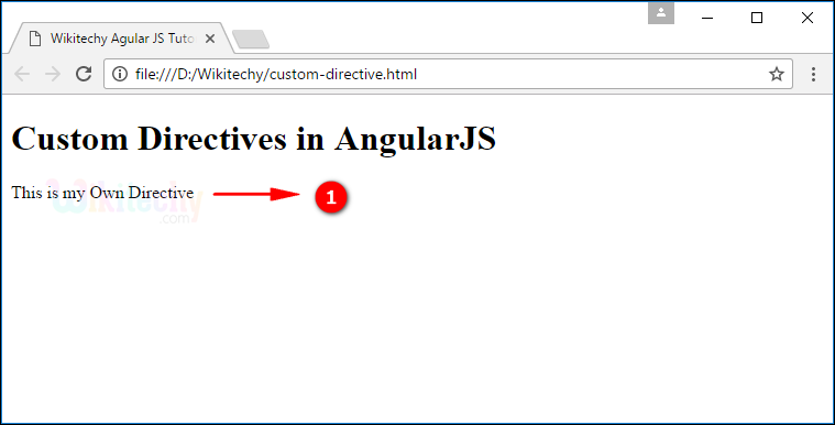 Sample Output for AngularJS Create Directive