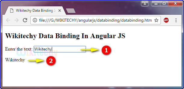 Sample Output for Data Binding In Angularjs