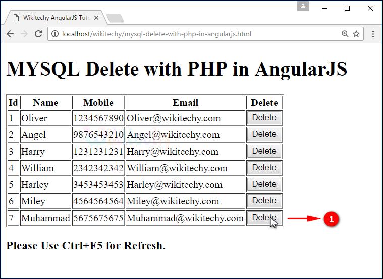 Sample Output for AngularJS delete using PHP Mysql