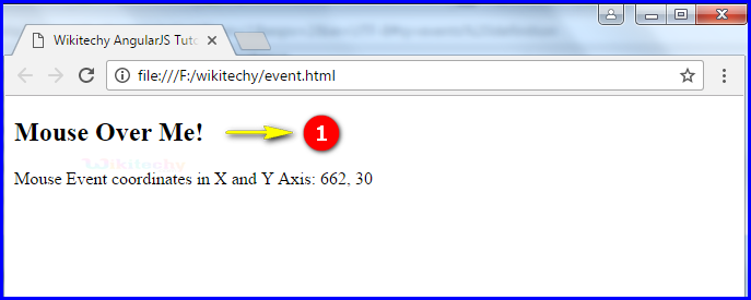 Sample Output for AngularJS Events