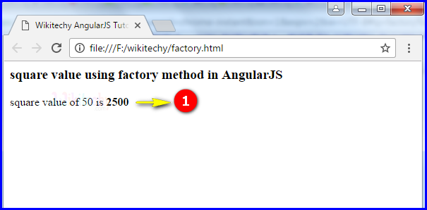 Sample Output for AngularJS Factory