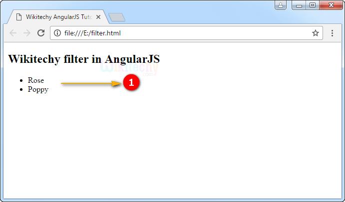 Sample Output for AngularJS Filter