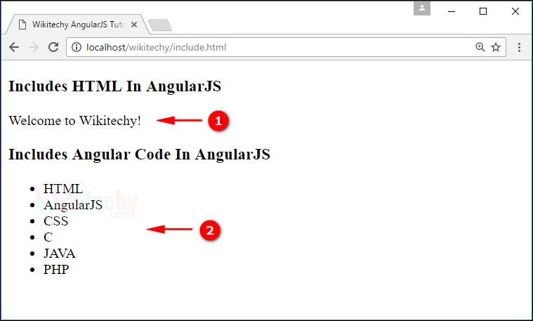 Sample Output for AngularJS Includes