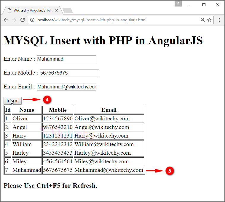 Sample Output for AngularJS insert using PHP Mysql