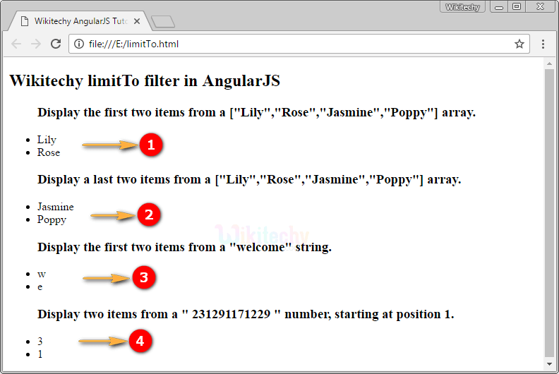 Sample Output for AngularJS LimitTo