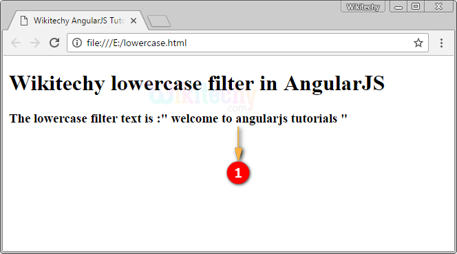 Sample Output for AngularJS Lowercase Filter
