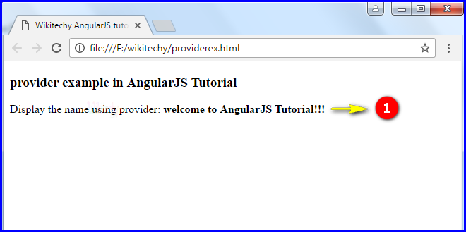 Sample Output for AngularJS Providers