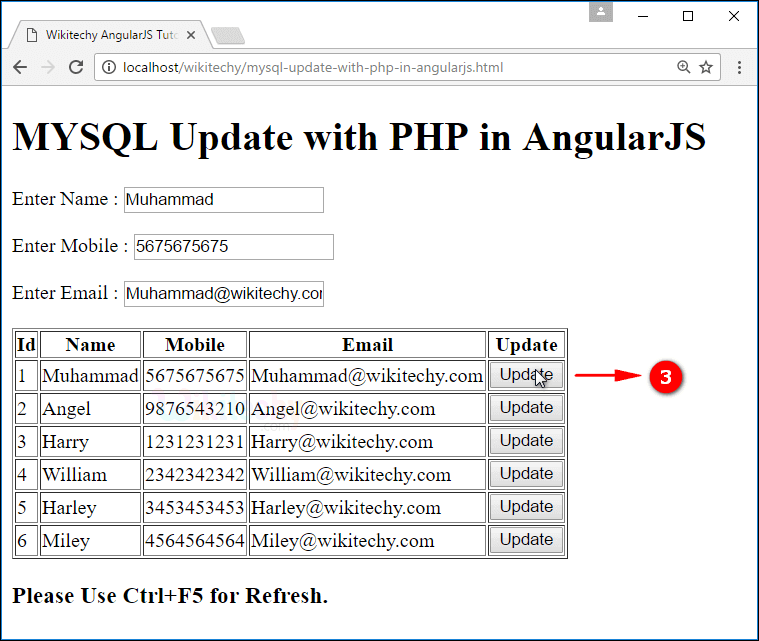 Sample Output for AngularJS update using PHP Mysql
