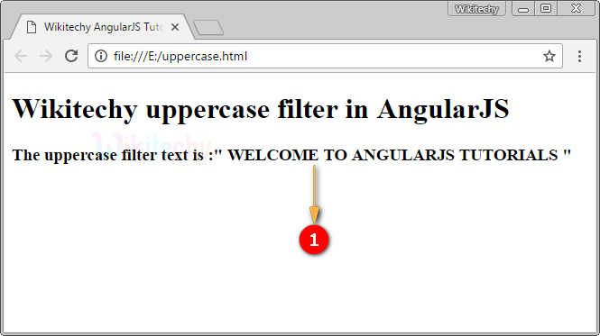 Sample Output for AngularJS Uppercase Filter