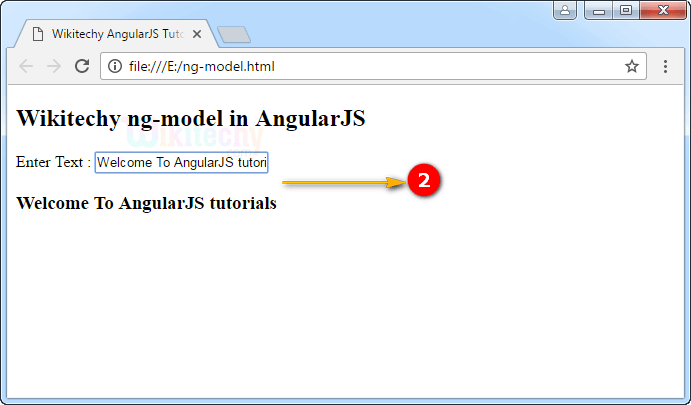 Sample Output1 for ng-model Directive In Angularjs