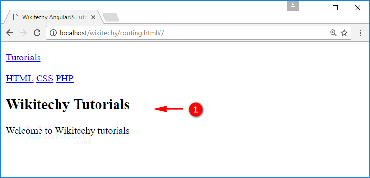 Sample Output1 for AngularJS Routing