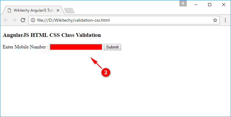 Sample Output1 for AngularJS Validation CSS