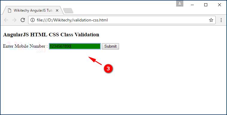 Sample Output2 for AngularJS Validation CSS