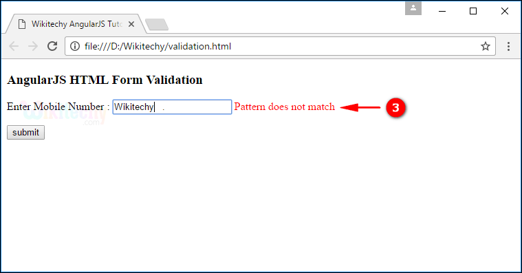 Sample Output2 for AngularJS Validation