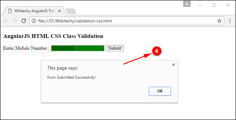 Sample Output3 for AngularJS Validation CSS