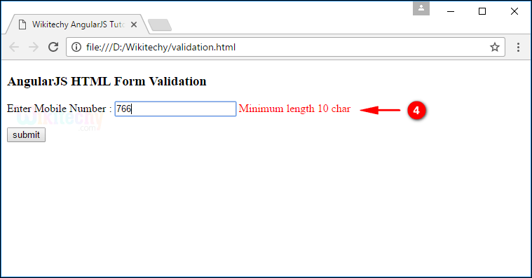Sample Output3 for AngularJS Validation