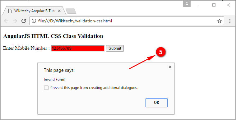 Sample Output4 for AngularJS Validation CSS