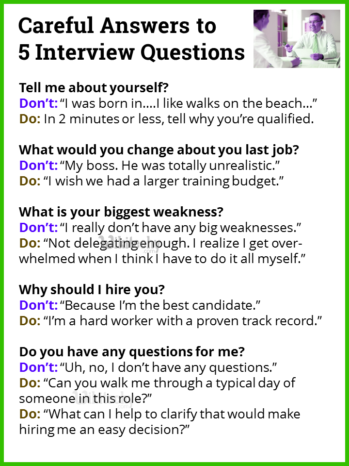 Careful answers to interview questions