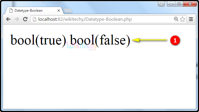 output for Datatype Boolean In PHP