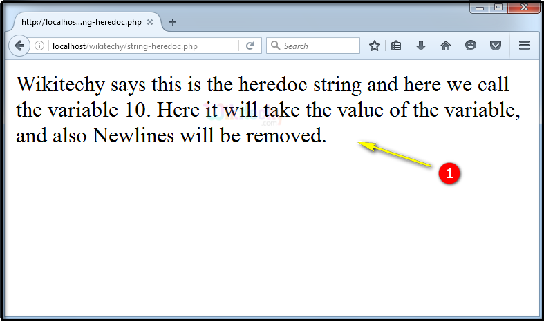 output for String Heredoc In PHP