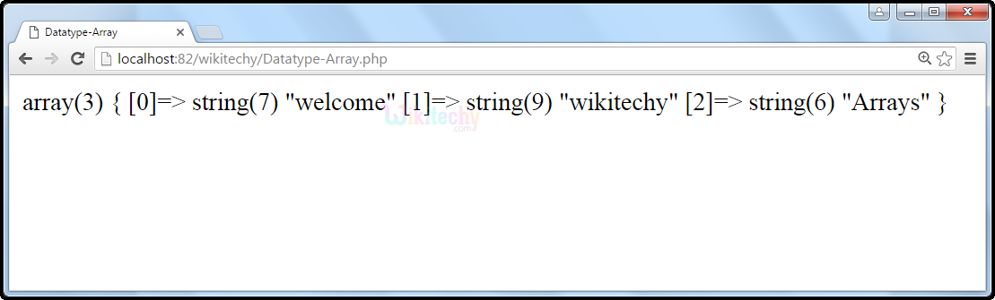 output1 for Datatype Array In PHP